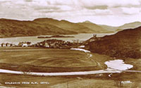 Circa 1939 - Kyleakin from Kyle Farm. Note the water pipe from the reservoir crossing the Obbe and also the Village Hall and additional 6 houses on Kyleside