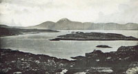 Circa 1910 - Kyleakin Lighthouse from Kyle. Another photograph has been superimposed on top giving this picture a surreal appearance
