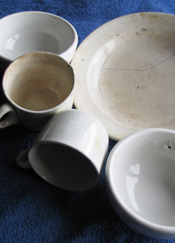 Crockery recovered from the HMS Port Napier