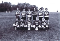 1990 ish - Kyleakin Football Team at the old Football Park Standing left to right: Leonard Chiffers, Donald MacLeod, John MacLeod, John Robertson, Peter Robertson and John Reid Kneeling left to right:  James Munro (Chips - Breakish), Malcolm Reid, Norman Robertson, Christopher MacKinnon and John Houston