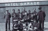 Kyleakin Football Team - circa 1933 Pictured outside the Kings Arms Hotel Back Row: Mr Skinner (King's Arms Owner), Hector MacDonald, Donald Reid, Donald Grant, Ruaraidh MacRae, ?, Alec Reid Middle Row: Neil Grant, Alec Reid, Albright, James Reid Front Row: Donald Angus Nicolson and Alec Nicolson (the Nicolsons were painters). (information on names supplied by the late Nan Reid).